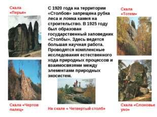 С 1920 года на территории «Столбов» запрещена рубка леса и ломка камня на стр