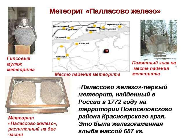 Метеорит «Палласово железо» Гипсовый муляж метеорита Место падения метеорита...