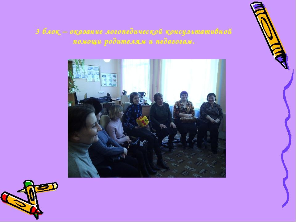 3 блок – оказание логопедической консультативной помощи родителям и педагогам.