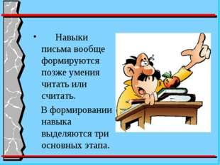 Навыки письма вообще формируются позже умения читать или считать. В формиров