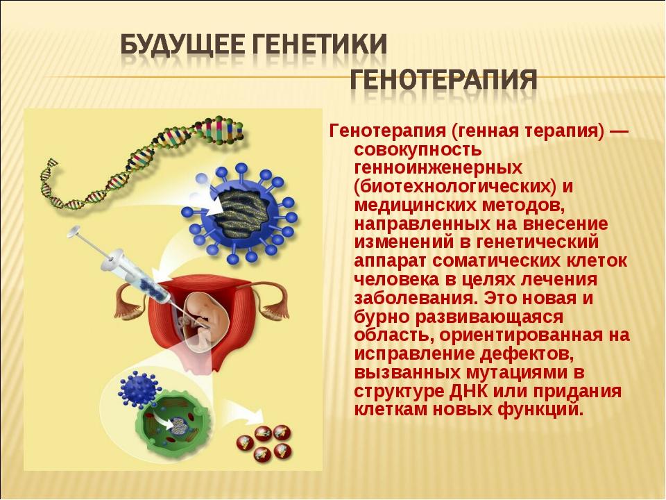Генотерапия (генная терапия) — совокупность генноинженерных (биотехнологическ...