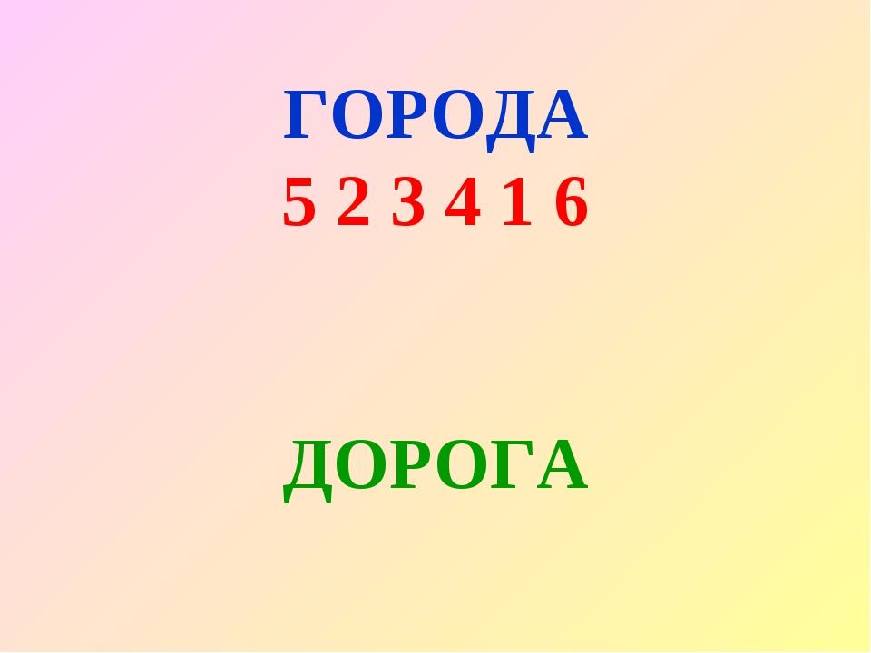 ГОРОДА 5 2 3 4 1 6 ДОРОГА