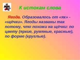 К истокам слова Ягода. Образовалось от «як» - «щёчки». Ягоды названы так пото