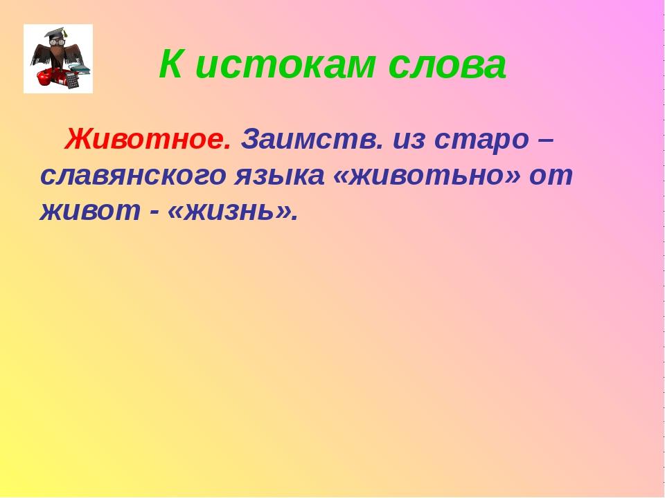 К истокам слова Животное. Заимств. из старо – славянского языка «животьно» от...