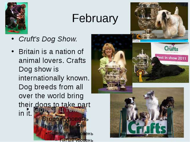 February Cruft's Dog Show. Britain is a nation of animal lovers. Crafts Dog s...