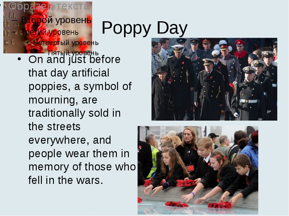 Poppy Day On and just before that day artificial poppies, a symbol of mournin...