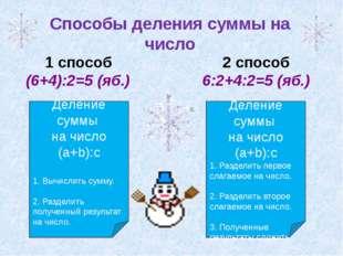 I 1 способ (6+4):2=5 (яб.) 2 способ 6:2+4:2=5 (яб.) Способы деления суммы на