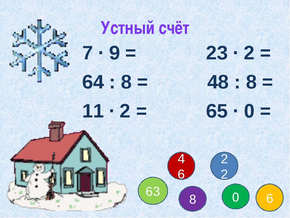 Устный счёт 7 ∙ 9 = 23 ∙ 2 = 64 : 8 = 48 : 8 = 11 ∙ 2 = 65 ∙ 0 = 63 8 0 6 22...