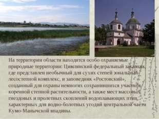 На территории области находятся особо охраняемые природные территории: Цимлян