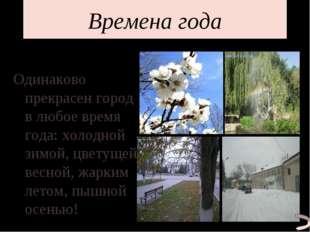 Времена года Одинаково прекрасен город в любое время года: холодной зимой, цв