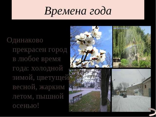Времена года Одинаково прекрасен город в любое время года: холодной зимой, цв...