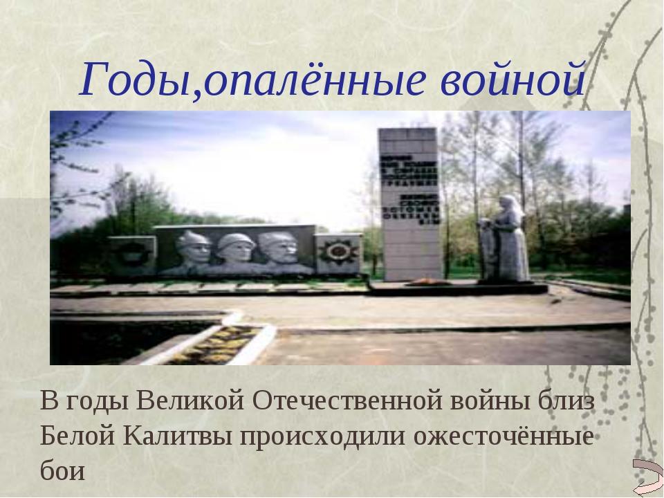Годы,опалённые войной В годы Великой Отечественной войны близ Белой Калитвы п...