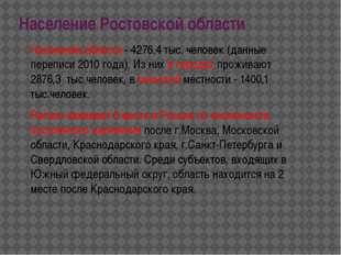Население Ростовской области Население области - 4276,4 тыс. человек (данные