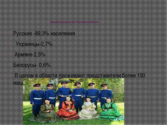 Национальный состав Ростовской области Русские -89,3% населения Украинцы-2,7...