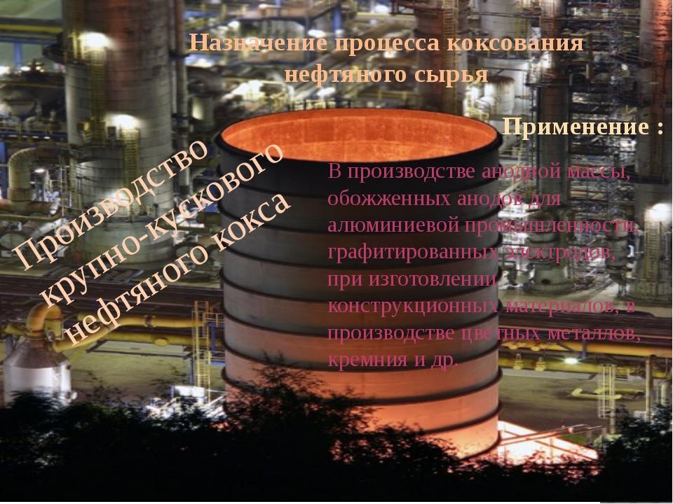 Назначение процесса коксования нефтяного сырья Производство крупно-кускового...