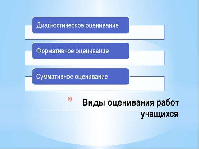 Виды оценивания работ учащихся