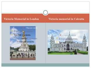 Victoria Memorial in London Victoria memorial in Calcutta