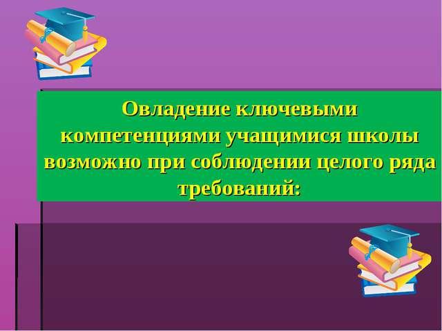 Овладение ключевыми компетенциями учащимися школы возможно при соблюдении цел...