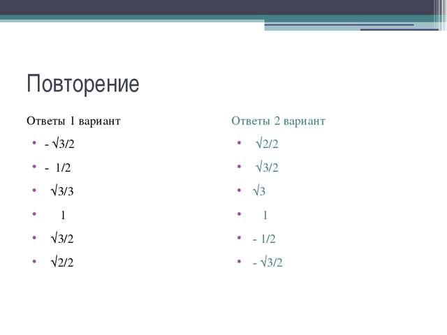 Повторение Ответы 1 вариант - √3/2 - 1/2 √3/3 1 √3/2 √2/2 Ответы 2 вариант √2...