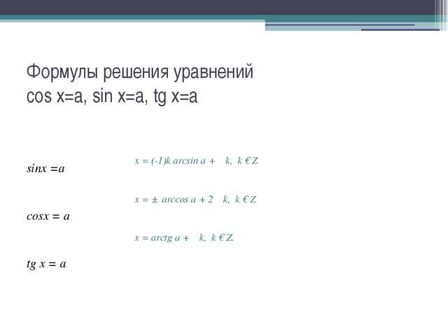 Формулы решения уравнений cos x=a, sin x=a, tg x=a sinx =а cosx = а tg х = а...
