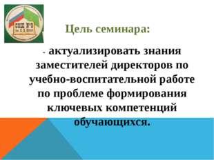 Цель семинара: - актуализировать знания заместителей директоров по учебно-вос