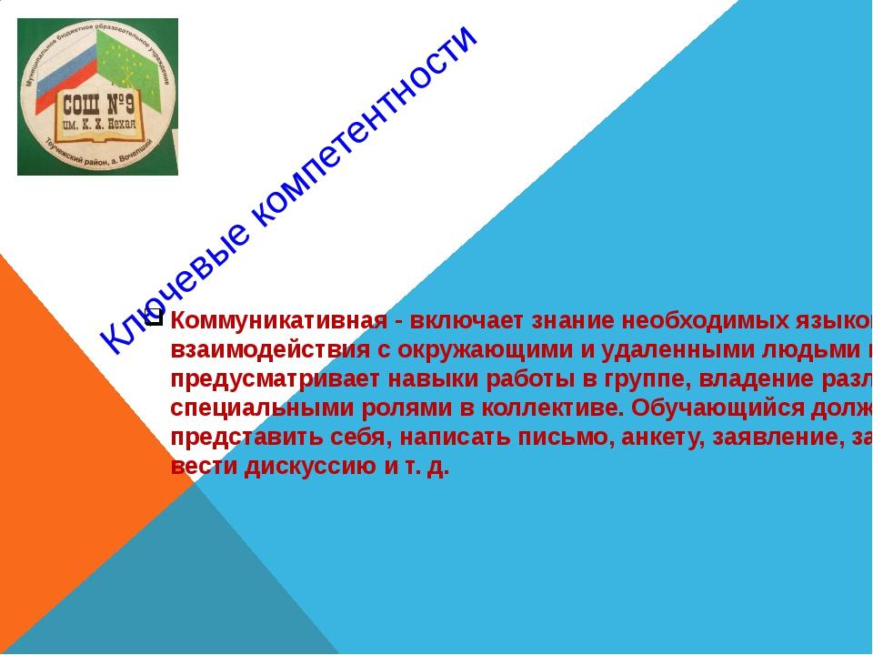 Ключевые компетентности Коммуникативная - включает знание необходимых языков,...