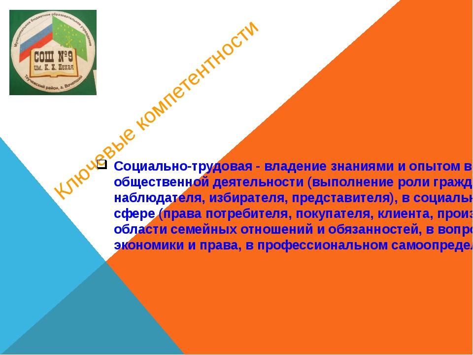 Ключевые компетентности Социально-трудовая - владение знаниями и опытом в гра...