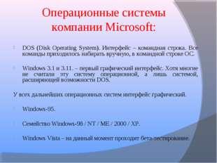 Операционные системы компании Microsoft: DOS (Disk Operating System). Интерфе