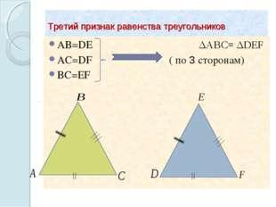 Третий признак равенства треугольников AB=DE ΔABC= ΔDEF AC=DF ( по 3 сторонам