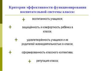 Критерии эффективности функционирования воспитательной системы класса: воспит