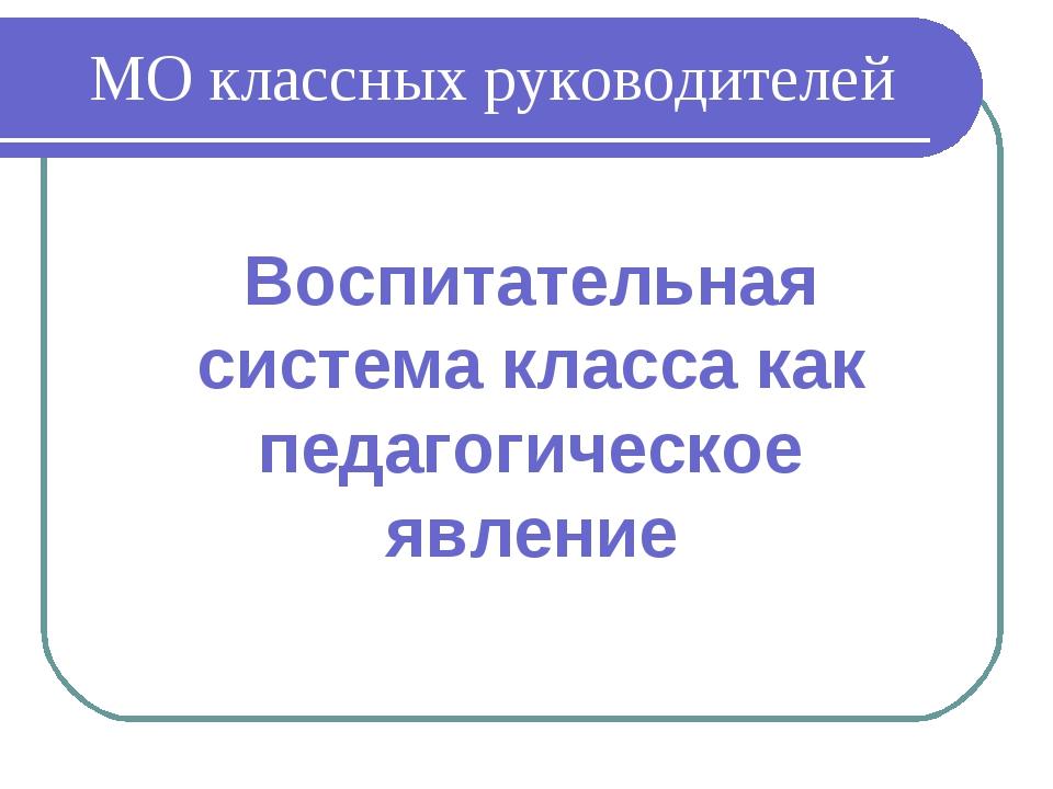 МО классных руководителей Воспитательная система класса как педагогическое яв...