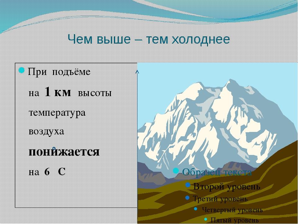 Чем выше – тем холоднее При подъёме на 1 км высоты температура воздуха понижа...