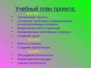 Учебный план проекта: Урок №1: Презентация проекта. Осознание проблемы и форм