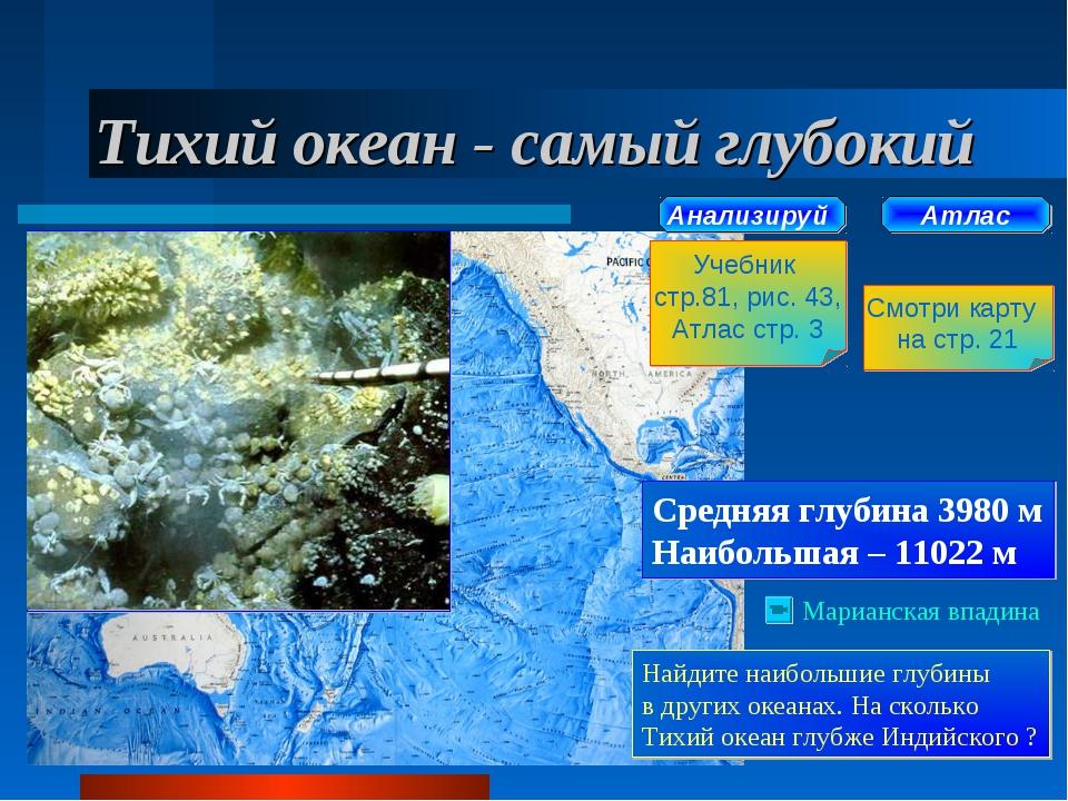 Тихий океан - самый глубокий Атлас Смотри карту на стр. 21 Анализируй Учебник...