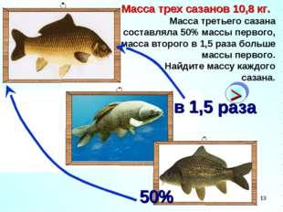 * Масса трех сазанов 10,8 кг. Масса третьего сазана составляла 50% массы перв