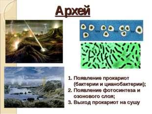 Архей Появление прокариот (бактерии и цианобактерии); Появление фотосинтеза и