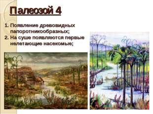 Палеозой 4 Появление древовидных папоротникообразных; На суше появляются перв