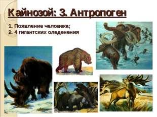 Кайнозой: 3. Антропоген Появление человека; 4 гигантских оледенения