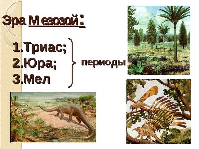 Эра Мезозой: Триас; Юра; Мел периоды