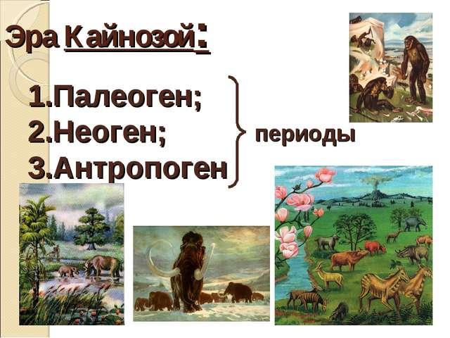 Эра Кайнозой: Палеоген; Неоген; Антропоген периоды