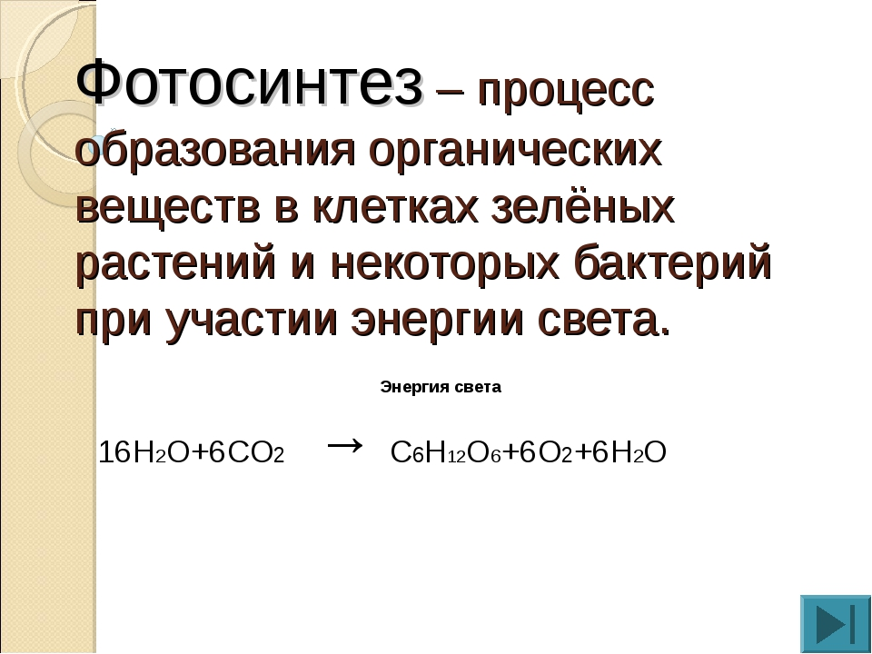 Фотосинтез – процесс образования органических веществ в клетках зелёных расте...