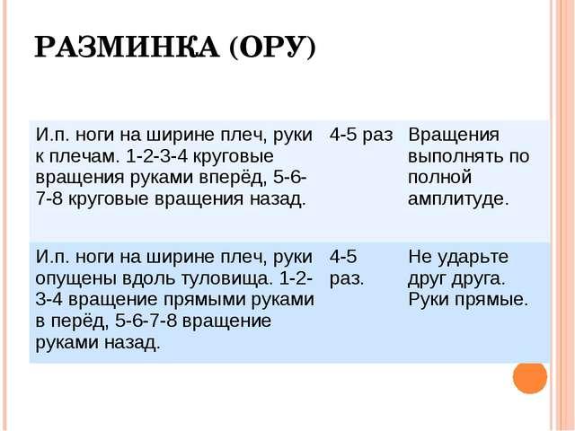 РАЗМИНКА (ОРУ) И.п. ноги на ширине плеч, руки к плечам. 1-2-3-4 круговые вращ...