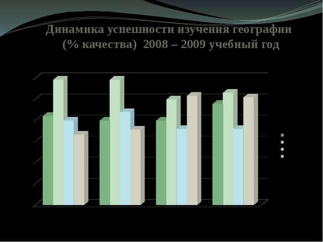Динамика успешности изучения географии (% качества) 2008 – 2009 учебный год