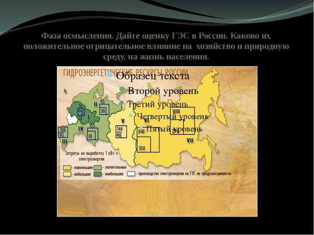 Фаза осмысления. Дайте оценку ГЭС в России. Каково их положительное отрицател...