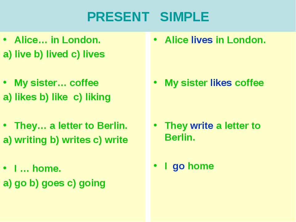 PRESENT SIMPLE Alice… in London. a) live b) lived c) lives My sister… coffee...