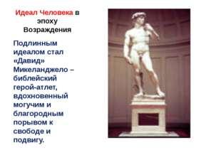 Идеал Человека в эпоху Возраждения Подлинным идеалом стал «Давид» Микеланджел