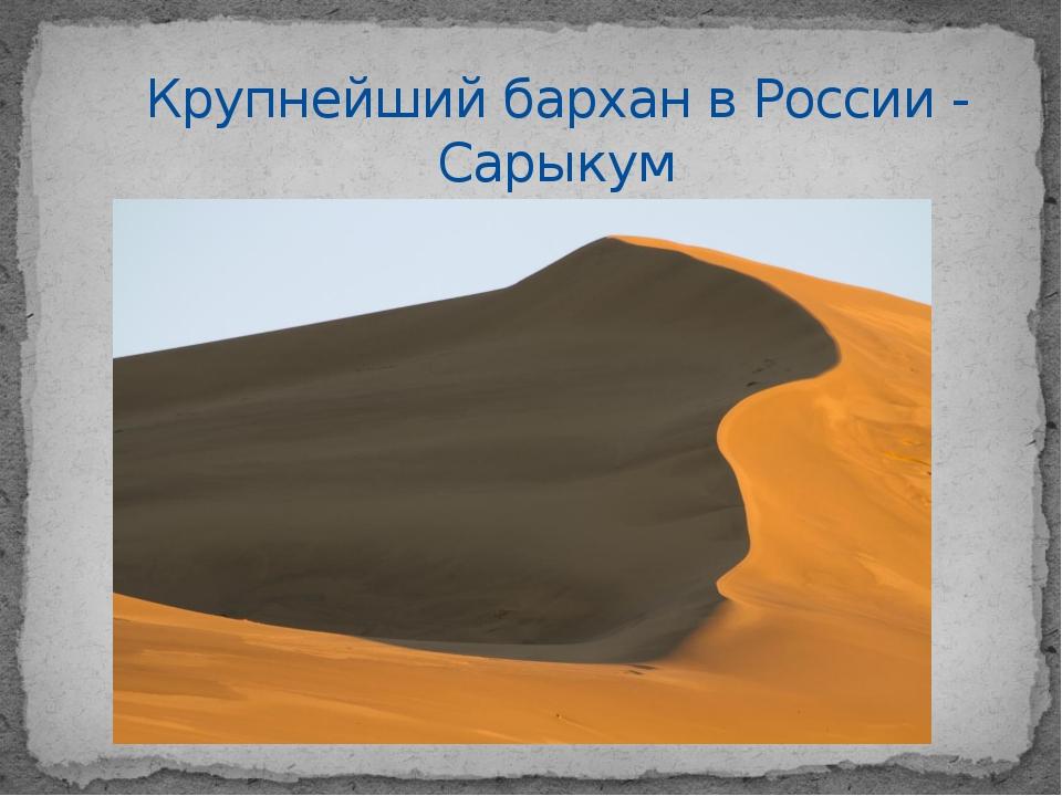 Крупнейший бархан в России - Сарыкум