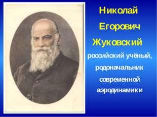 Николай Егорович Жуковский российский учёный, родоначальник современной аэрод