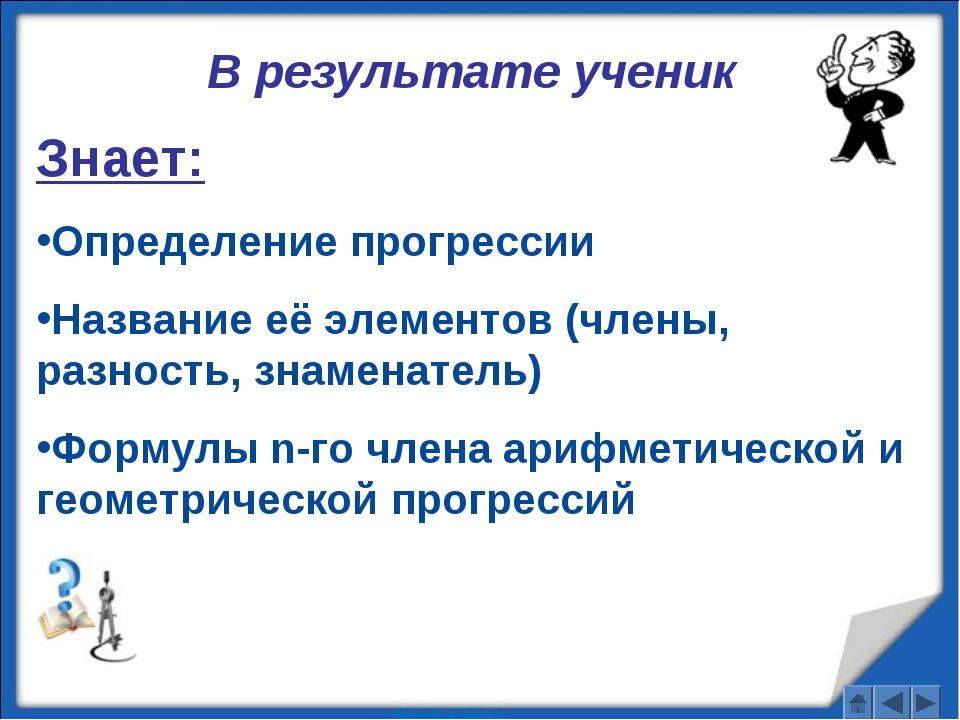 В результате ученик Знает: Определение прогрессии Название её элементов (член...