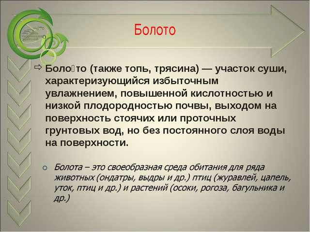 Боло́то (также топь, трясина)— участок суши, характеризующийся избыточным ув...